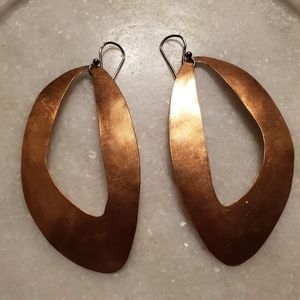Anthropologie hammered copper drop earrings